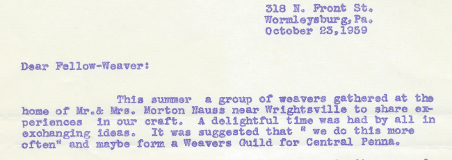 CPGH History - Central Pennsylvania Guild of Handweavers
